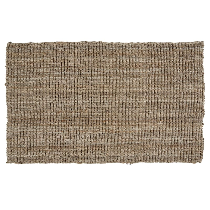(B181) Jute Boucle Woven Accent Rug, 3x5