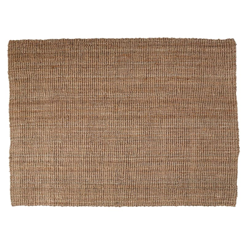 (B181) Jute Boucle Woven Accent Rug, 8x10