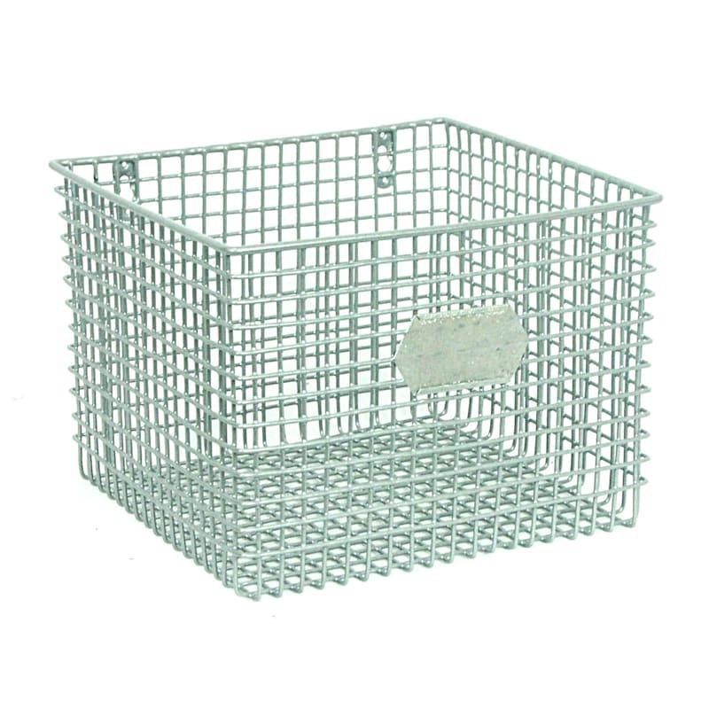 Square Metal Mesh Wall Basket Silver
