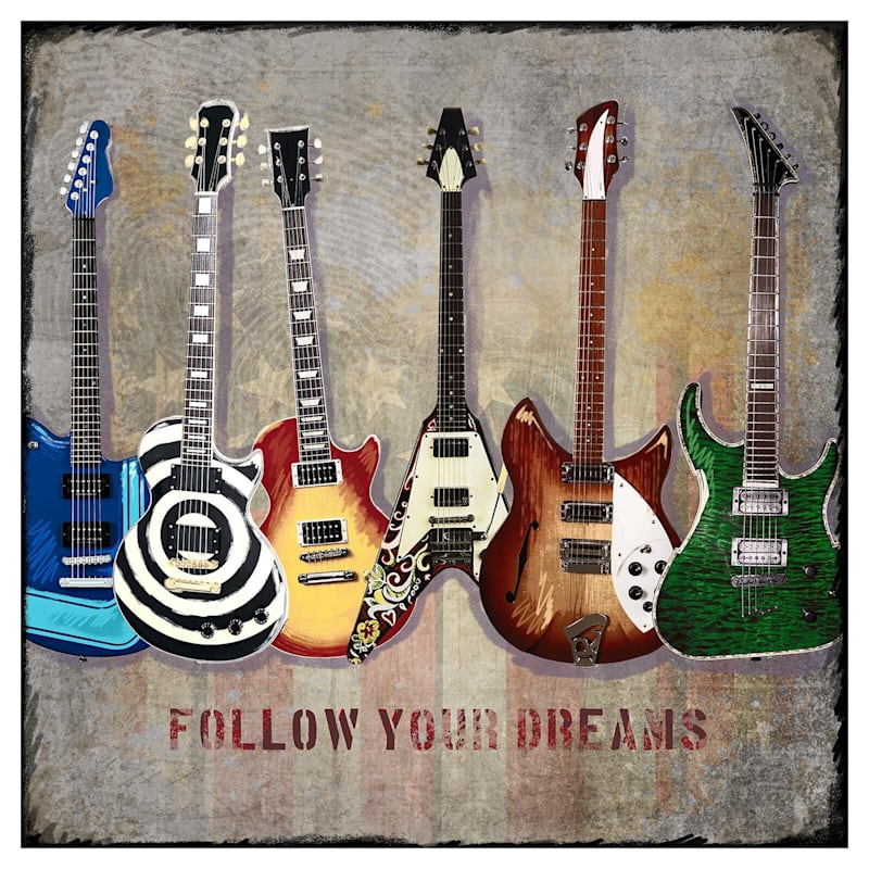 22X22 Follow Your Dreams Guitars Canvas