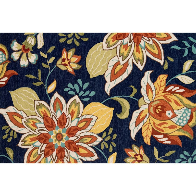 Summerton Dark Blue Floral Hooked Accent Rug, 2x4
