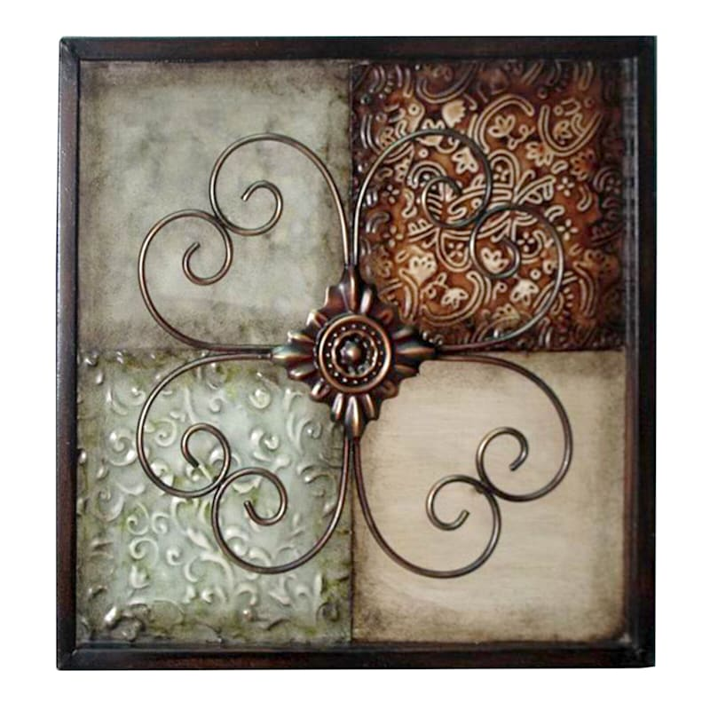 12X12 Metal 4 Square Floral Patch Wall Decor