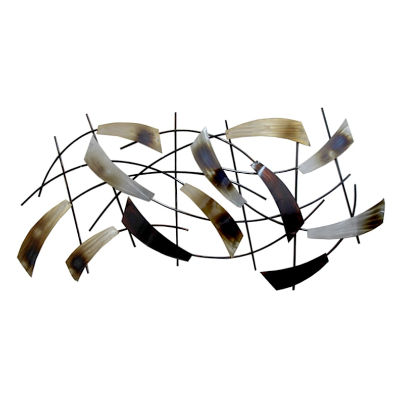 43X21 Metal Natural Cluster Feathers Wall Decor