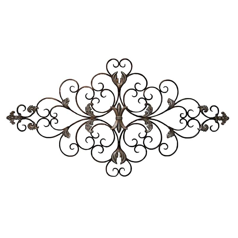 47X26 Metal Silver Fleur De Lis Wall Decor