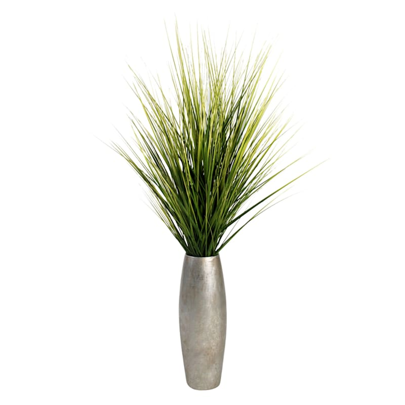 Natural Grass In Silver Pot