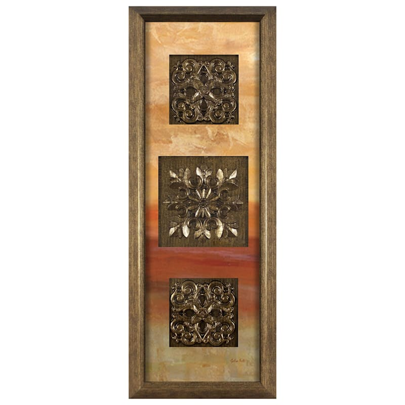 12X36 Triple Medallion Framed/Glass Art