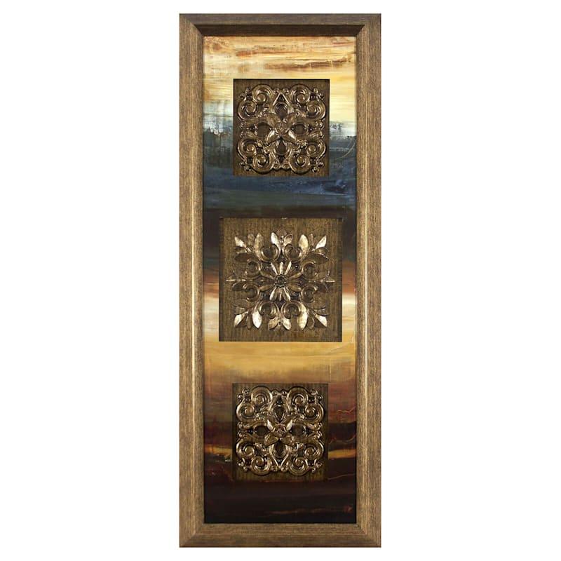 12X36 Triple Medallion Framed/Glass Art