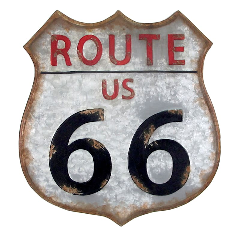 20 X 21-in Galvanized Route 66 Wall Décor