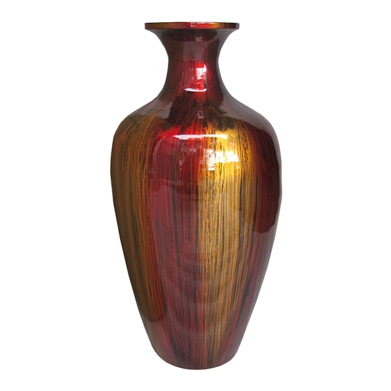 10X19 Red Bamboo Vase