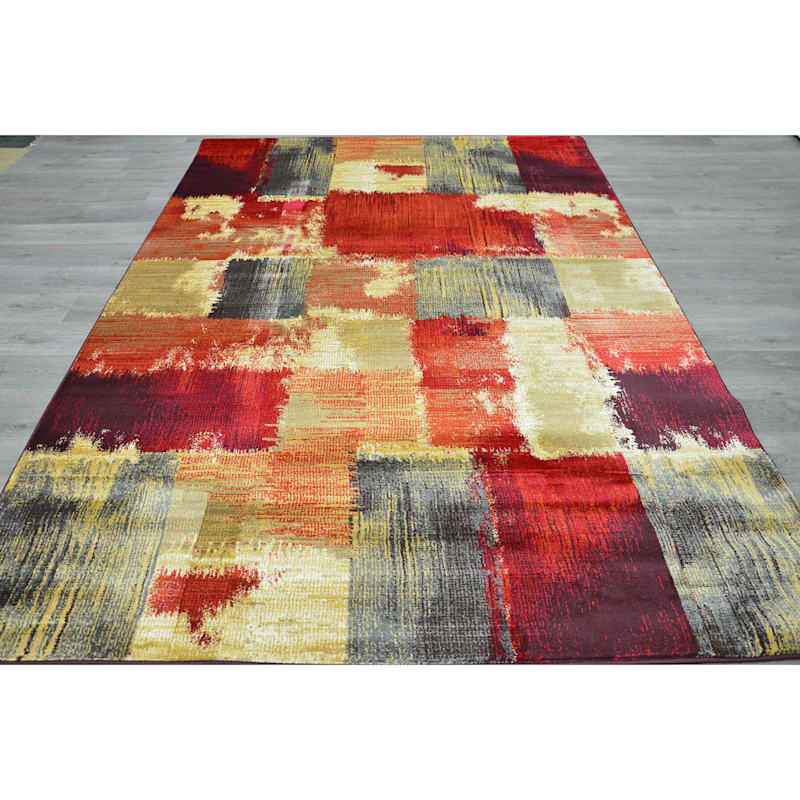 B148 Red Blocks Rug- 7x10 ft