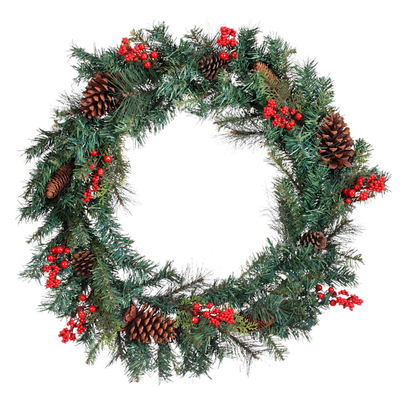 """Mixed Pine & Red Berry Wreath, 30"""""""