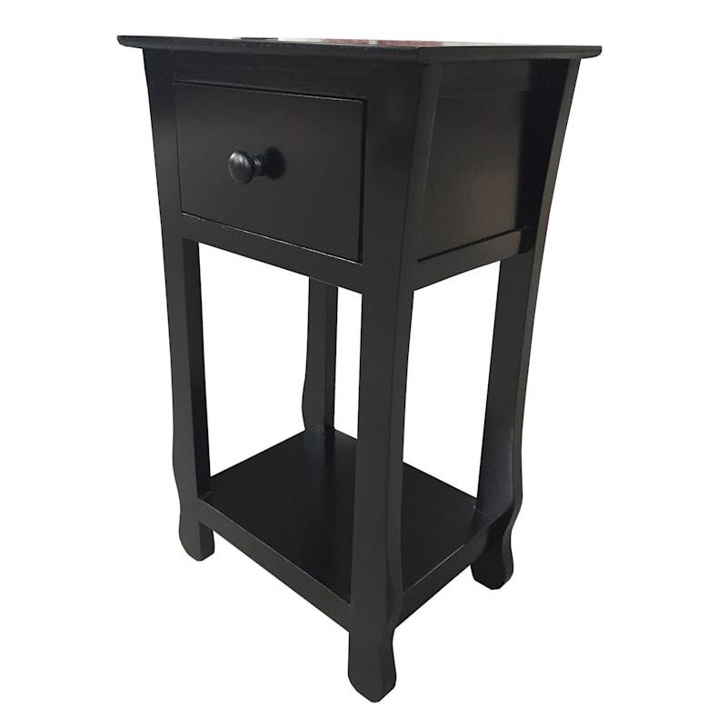 One Drawer Thick Leg Table Black