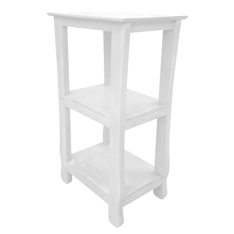 Thick Leg Wood Table 2 Shelf 28 White