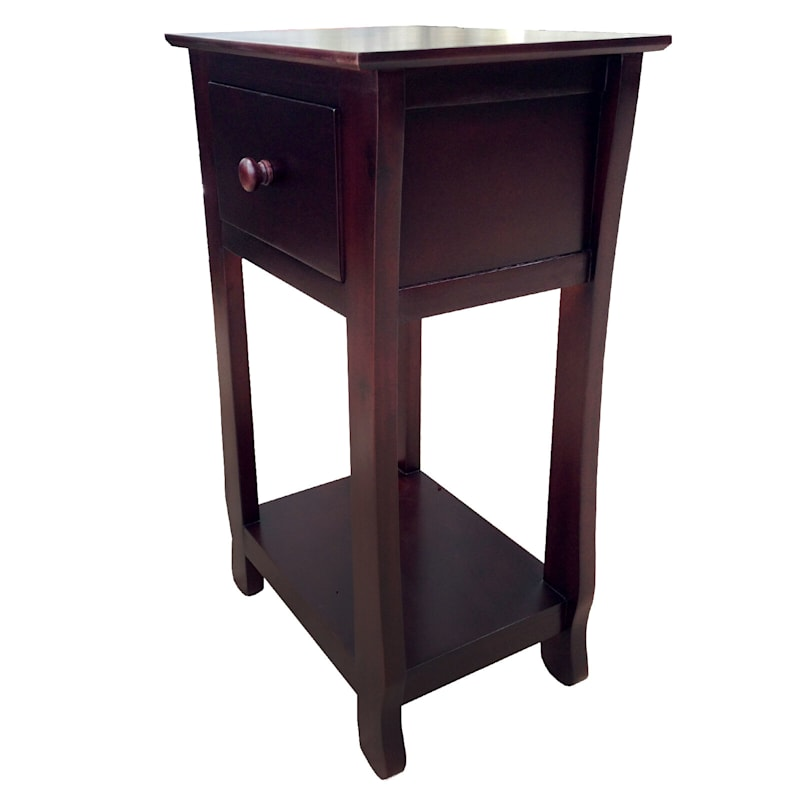 One Drawer Thick Leg Table Brown