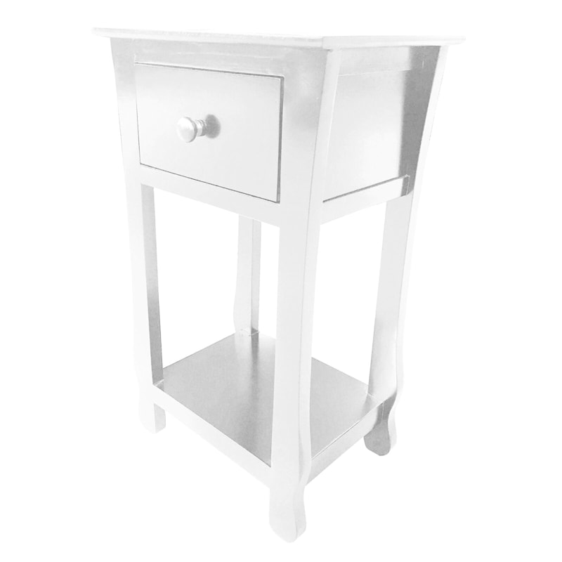 One Drawer Thick Leg Table White