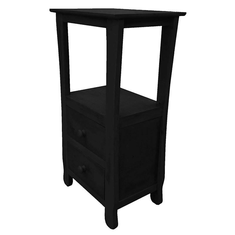 Two Drawer Thick Leg Table Black