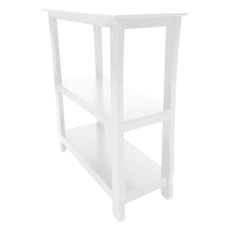 White Three Tier Thick Leg Bookshelf