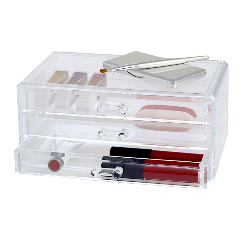 3 Drawer Cosmetic Organizer - Clear