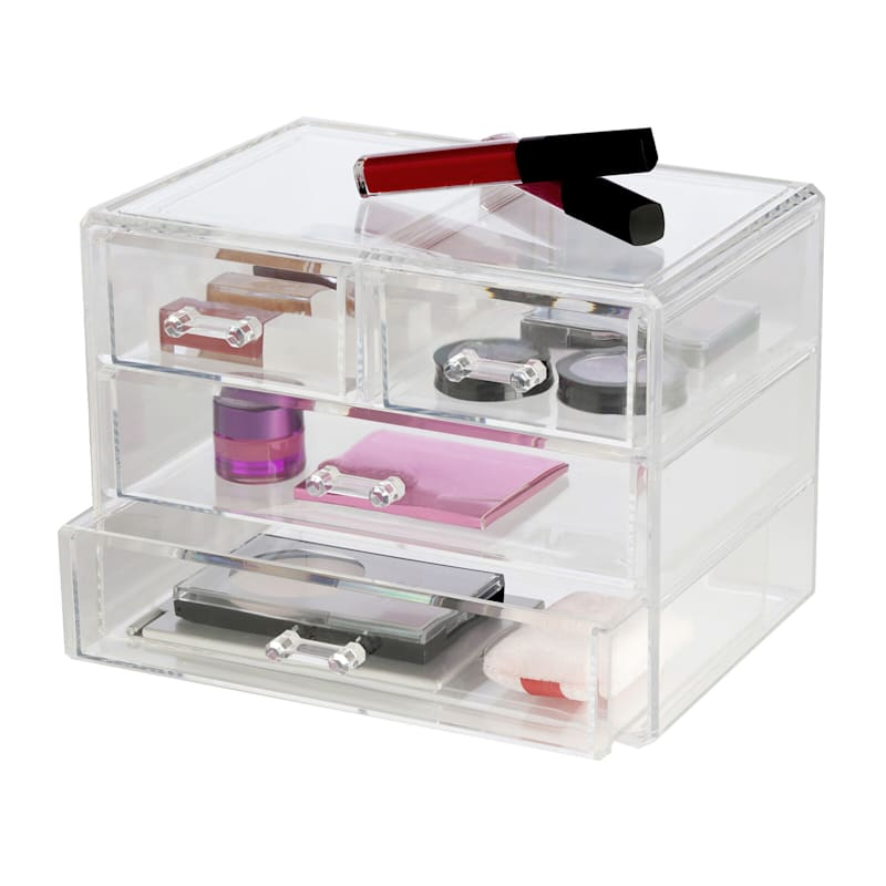Large 4 Drawer Organizer Clear Stackable