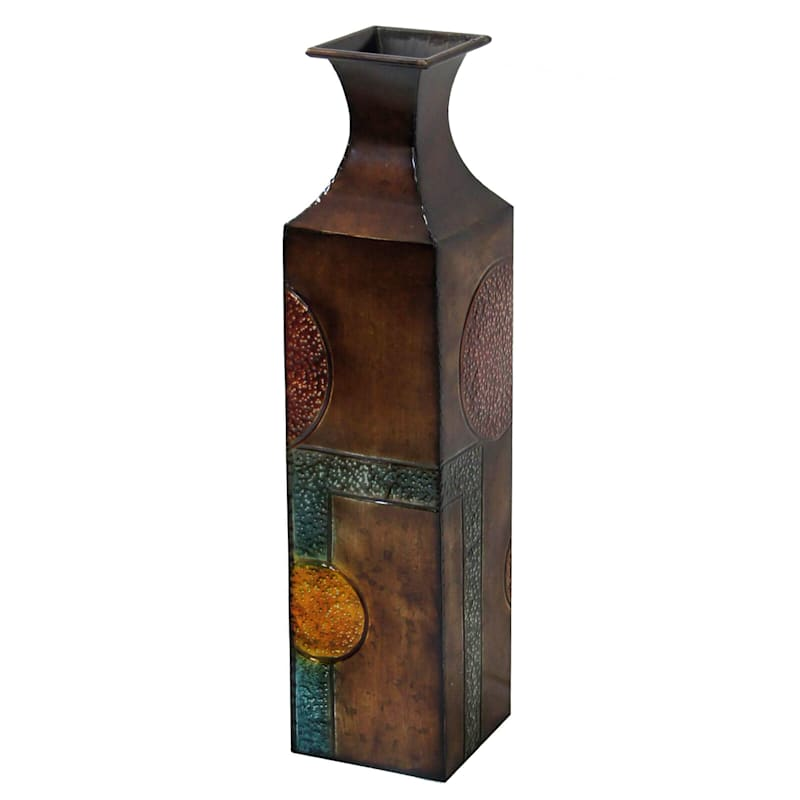 24in. Metal Square Vase With Circles