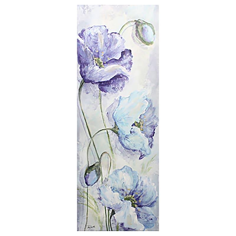 12X36 Indigo Poppies Floral Canvas Art