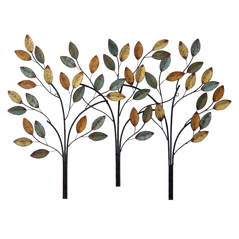 38X28 Metal Leaves On 3 Trees Wall Decor