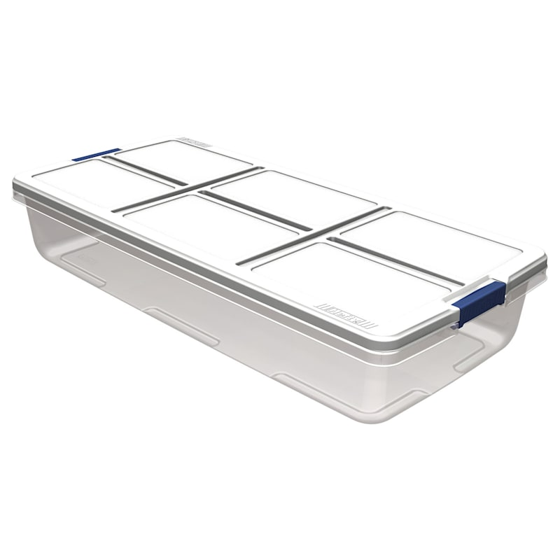 Hefty 52qt Storage Bin Clear/White