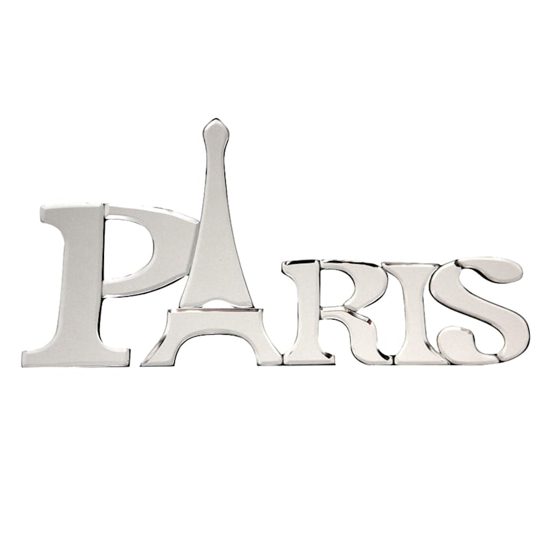 16X8 Black Faux Wood With Beveled Mirror Paris Word Sign