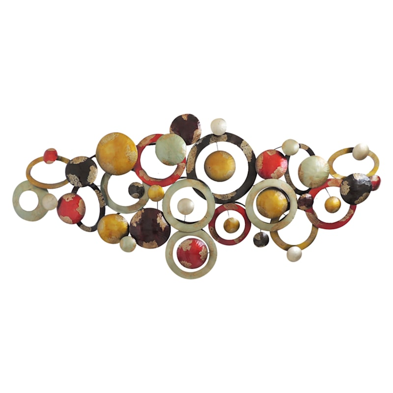 71x32 Multicolor Metal Geometric Ring Wall Decor At Home