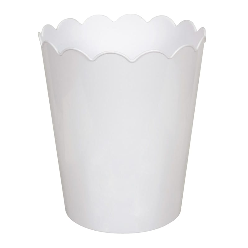 2.3 Gallon Scalooped Waste Bin - White