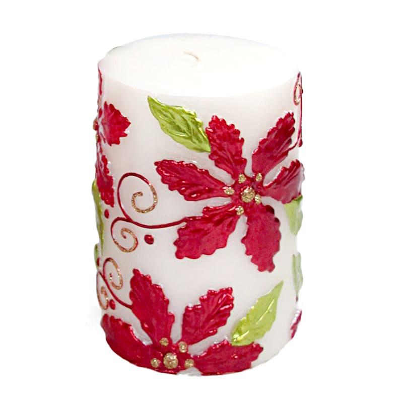 """Poinsettia Candle, 4"""""""