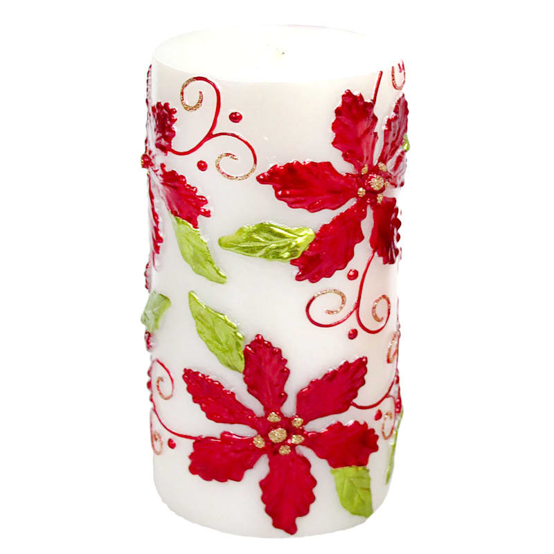 Poinsettia Candle, 6""
