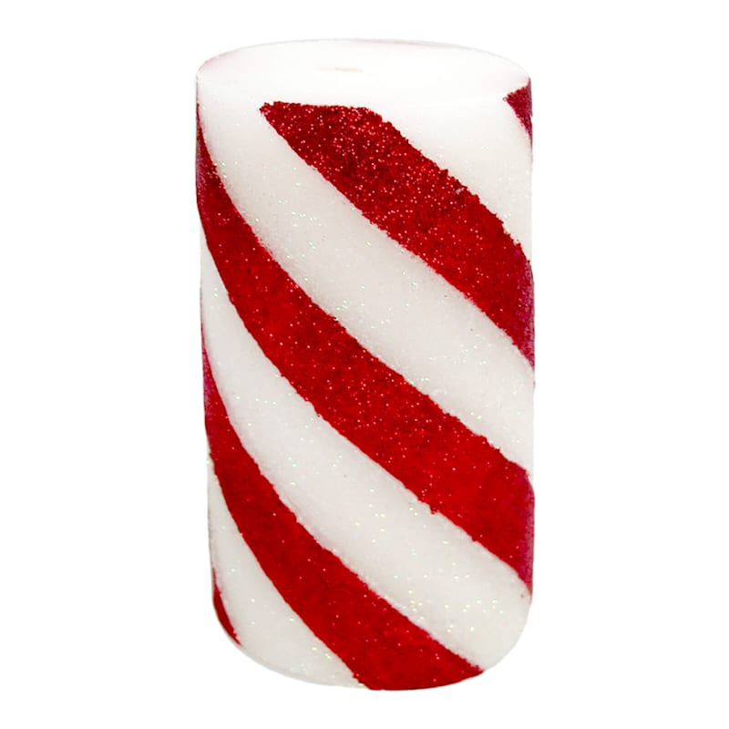 Striped Candy Cane Candle, 3x6