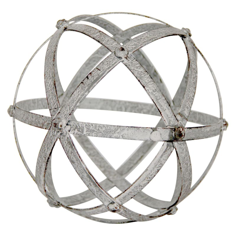 8in. Grey Metal Spiral Sphere