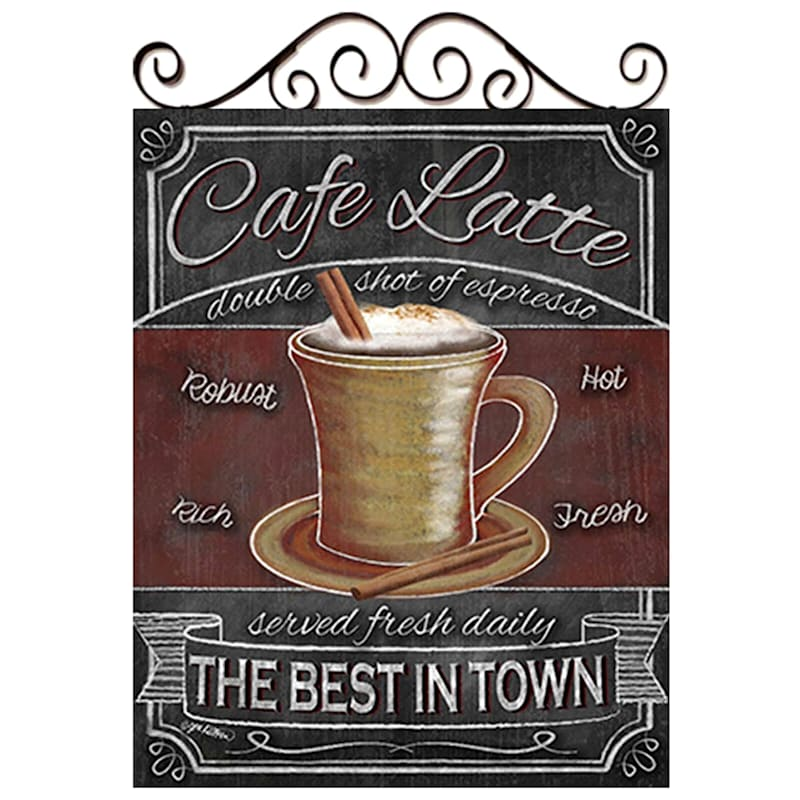 16X20 Coffee Themed Canvas Art With Metal Scroll