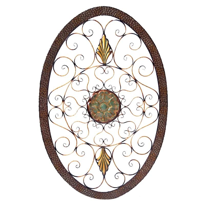 40X60 Multicolor Metal Ornate Oval Wall Decor