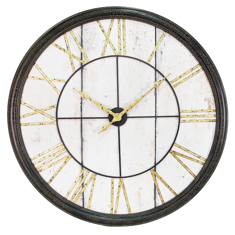 40 Metal/Wood Round Wall Clock