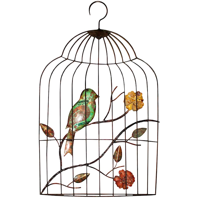 13X23 Metal Hanging Birdcage Wall Decor