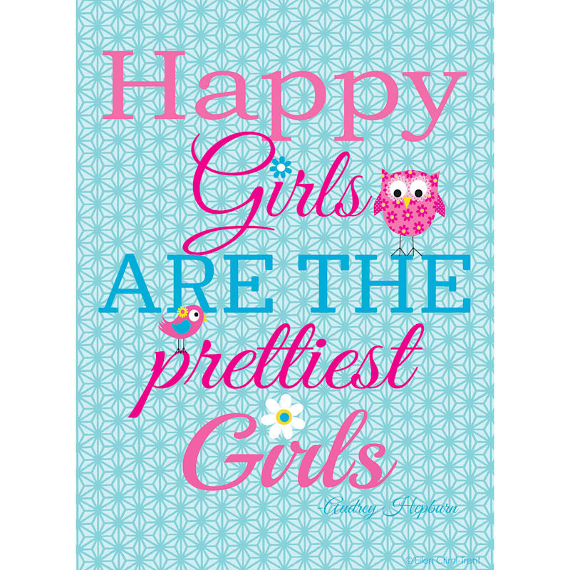 2-Piece 16X20 Happy Girls Quotes Canvas