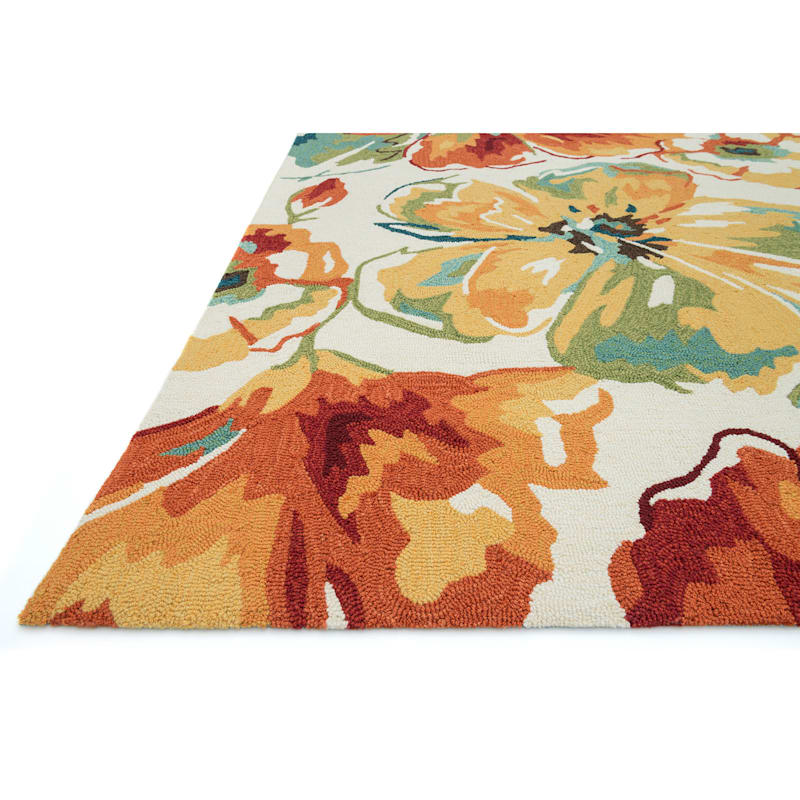 A138 Ivory and Red Floral Rug- 8 x 10 ft