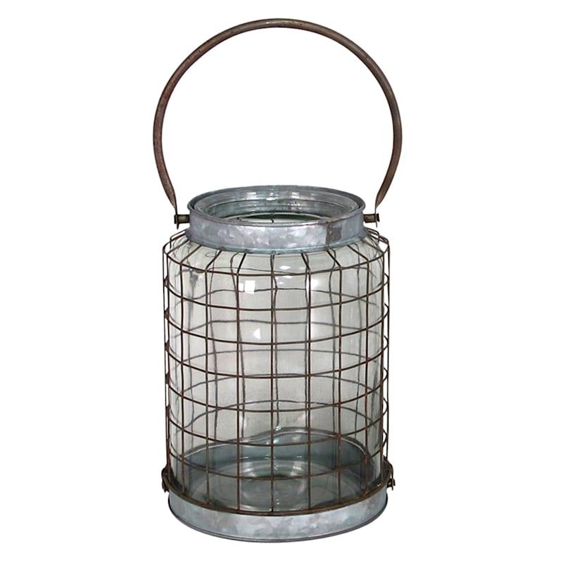 Galvanized Rim Glass Lantern With Metal Wire Grid Lantern 15in. High