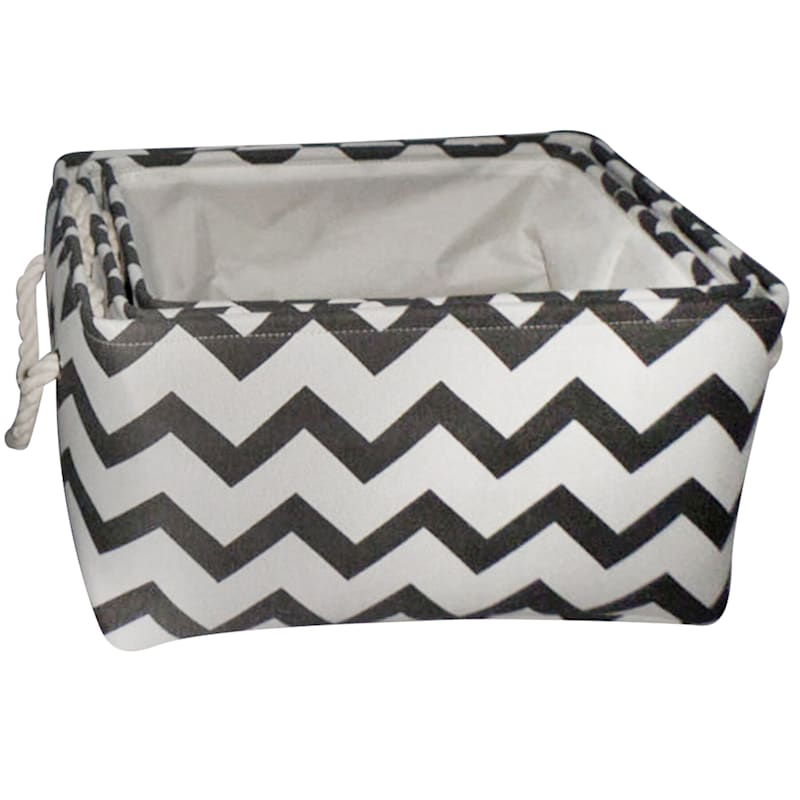 Grey Chevron Fabric Basket
