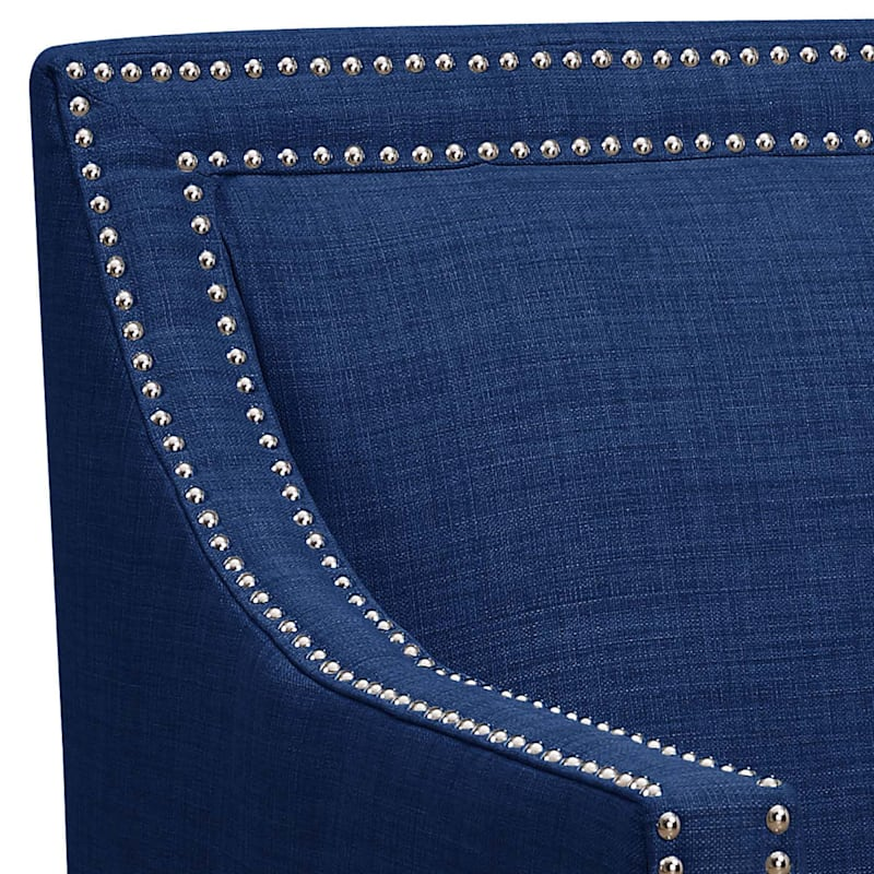 Erica Blue Accent Chair with Nailhead Trim