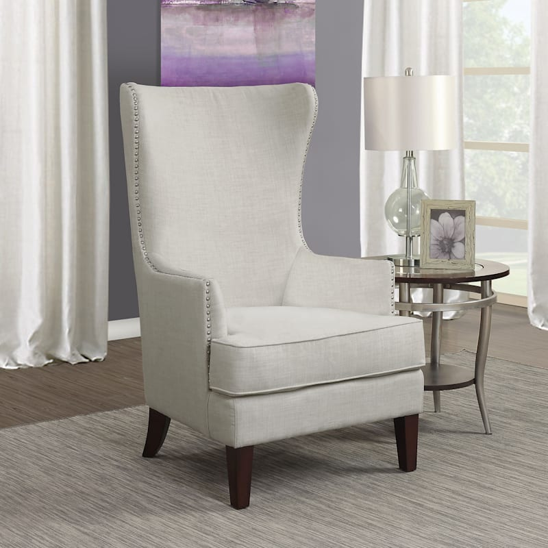 Kori Taupe High Back Accent Chair with Nailhead Trim