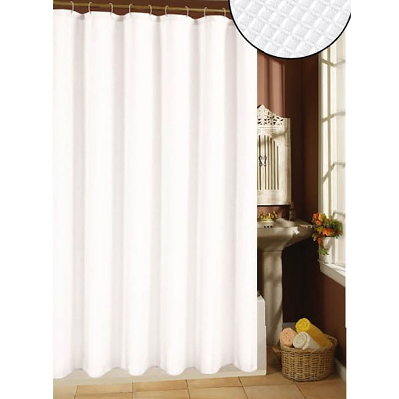 """Waffle Weave 70""""x72"""" White Shower Curtain"""