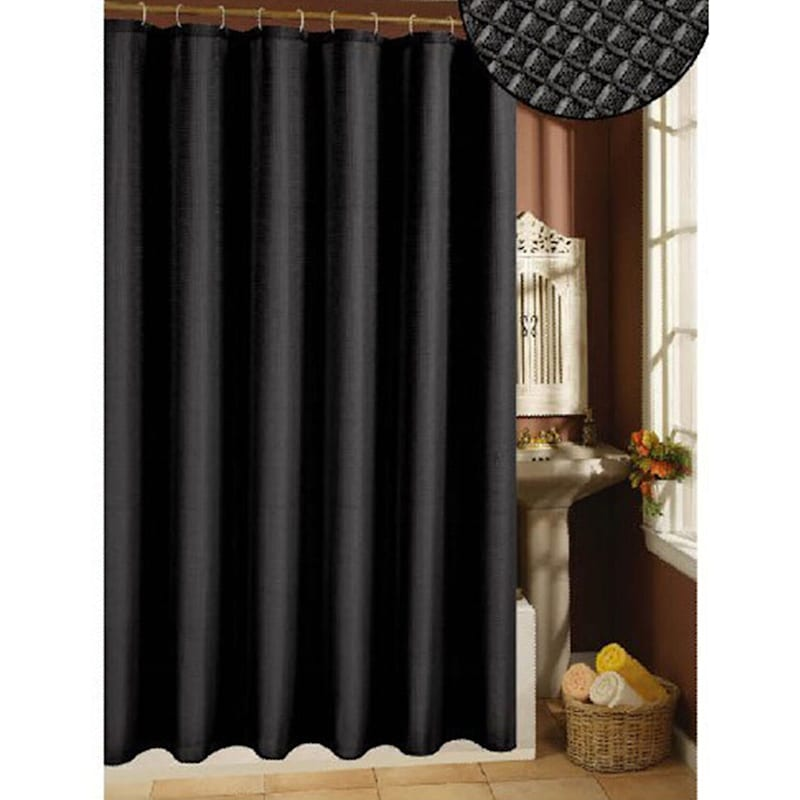 Waffle Weave Black Polyester Shower Curtain