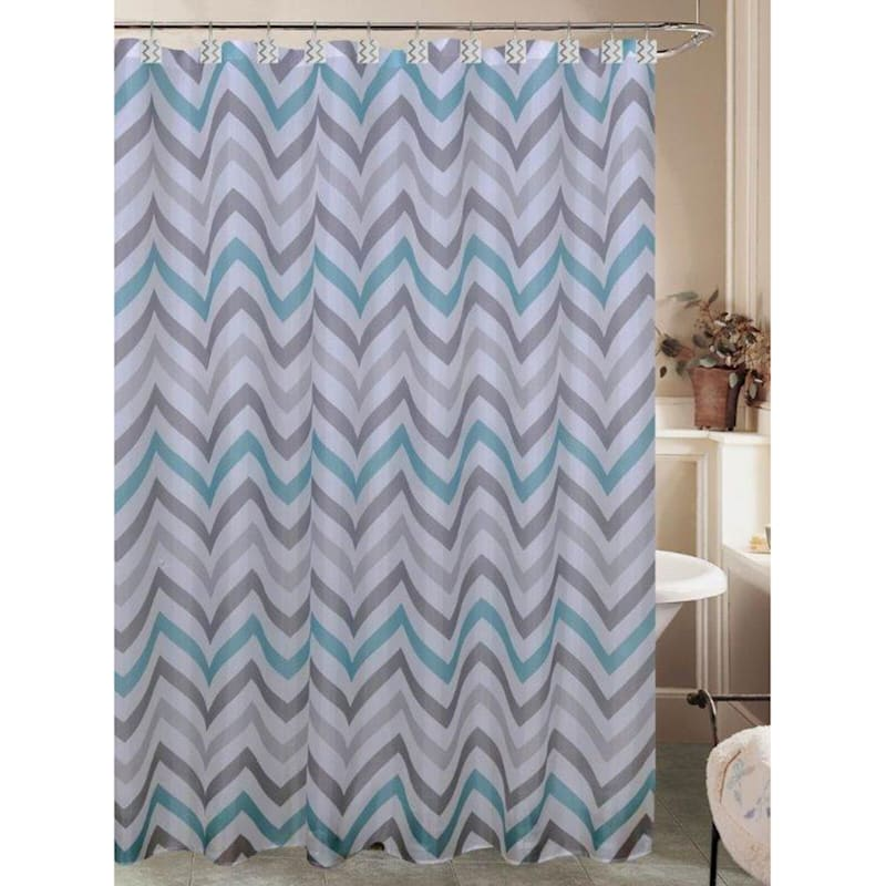 Casey Teal and Gray Chevron Shower Curtain