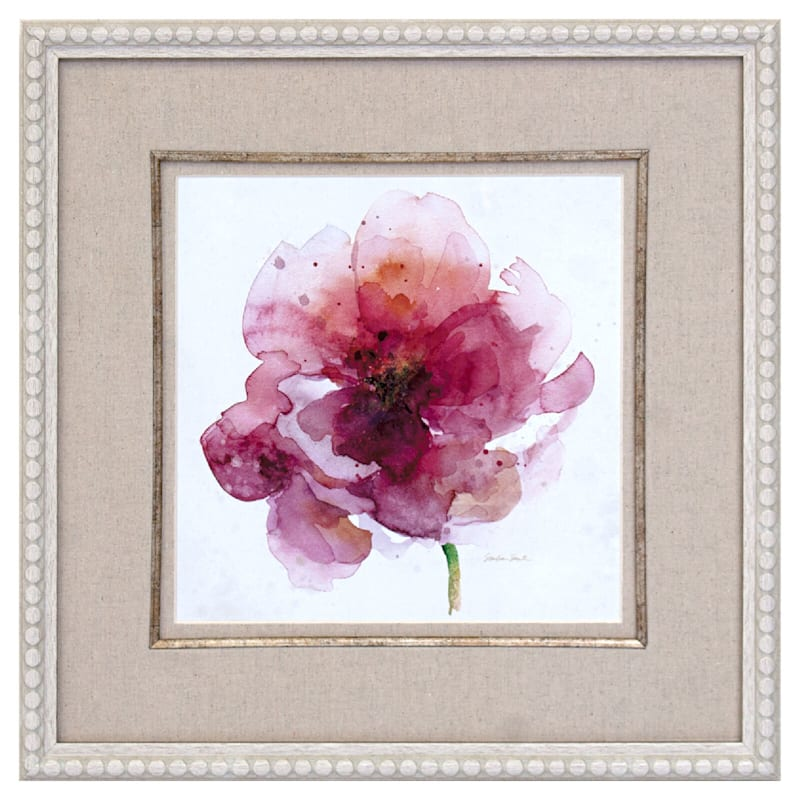 19X19 Watery Red Bloom Framed/Glass Art