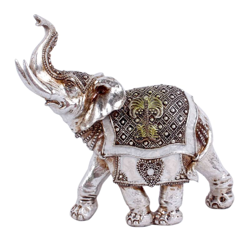 7in. Silver Resin Elephant Figurine