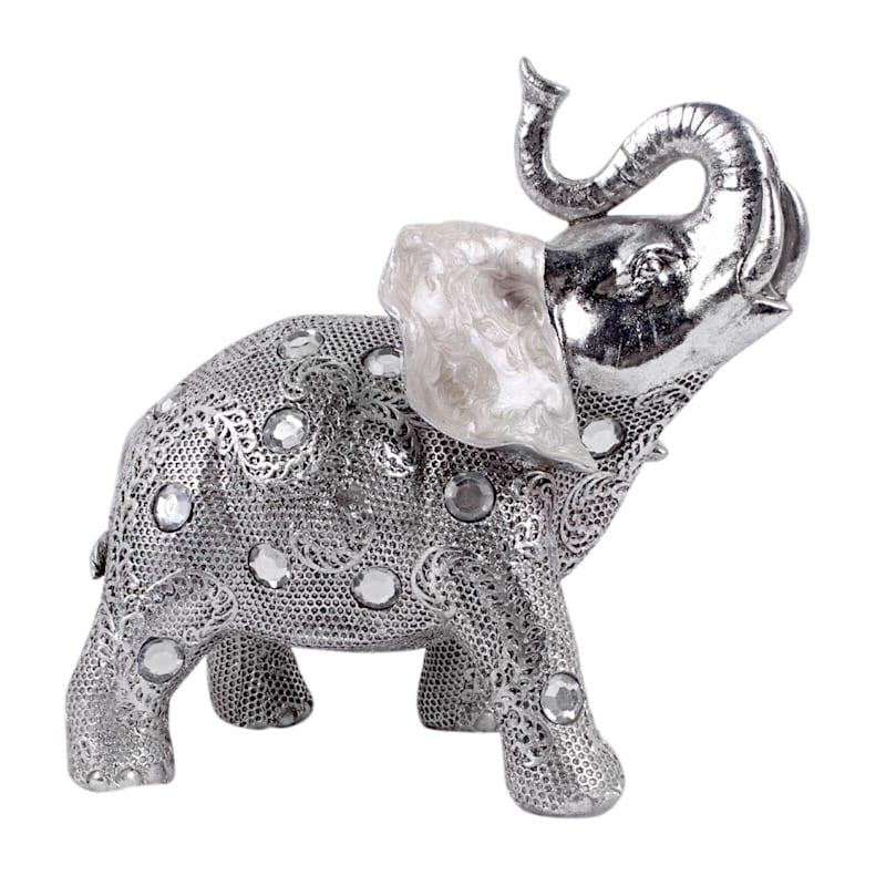 8in. Silver Resin Elephant